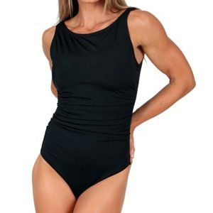 InstantFigure High Neck Solid One Piece Swimsuit
